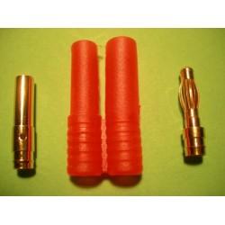 Ficha Dourada 4mm (macho/fêmea) com Protecção