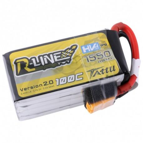 Tattu R-Line 1550mAh 100C 4S1P 15.2V High Voltage Lipo Battery 2.0 with Detachable Balance Cable
