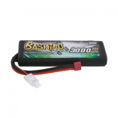 Gens Ace Bashing Series 3000mAh 2S1P 7.4V 50C Lipo Battery with T-plug