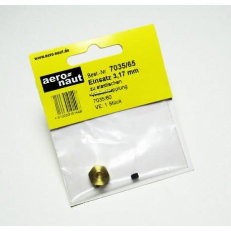 Aero-Naut Hexagonal Shaft Insert 3,17mm Brass for Locking Screws M3