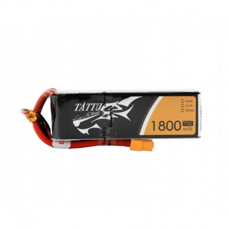 Tattu 1800mAh 11.1V 75C 3S1P Lipo Battery Pack with XT60