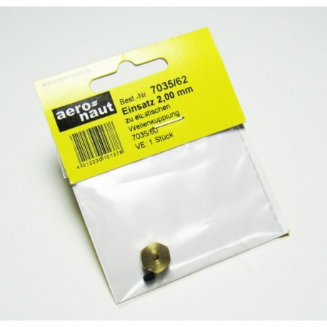Aero-Naut Hexagonal Shaft Insert 2mm Brass for Locking Screws M3