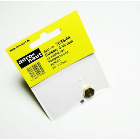 Aero-Naut Hexagonal Shaft Insert 3mm Brass for Locking Screws M3
