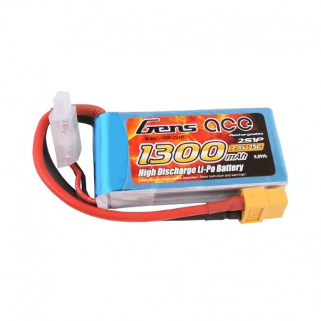 Gens Ace 2S 1300mAh 7.4V 25C Lipo Battery Pack with XT60 plug