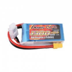 Gens Ace 11.1V 25C 3S 1300mAh Lipo Battery Pack with XT60 plug