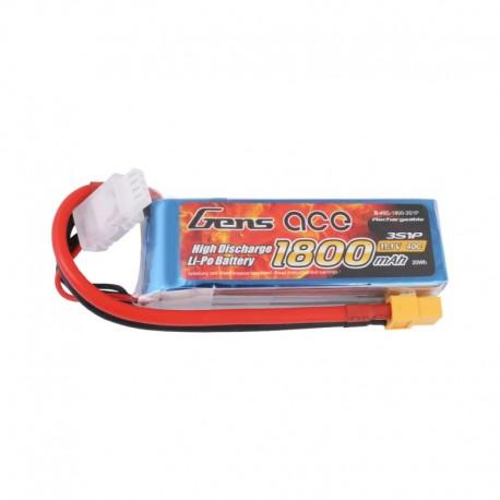 Gens Ace 1800mAh 11.1V 40C 3S1P LiPo Battery Pack with XT60 Plug