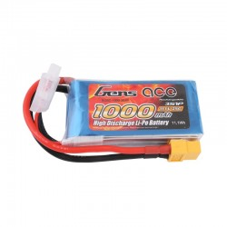 Gens Ace 1000mAh 3S1P 11.1V 25C Lipo Battery Pack with XT60 Plug