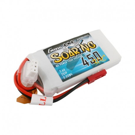 Gens Ace Soaring 450mAh 7.4V 30C 2S1P Lipo Battery Pack with JST-SYP plug