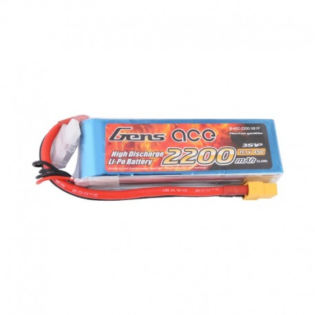 Gens Ace 2200mAh 11.1V 45C 3S1P Lipo Battery Pack with XT60 plug