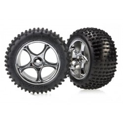 "Traxxas 2470R Alias Tires with Tracer 2.2"" Chrome Wheels"