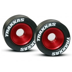 Traxxas 5186 Rubber Tires on Red-Anodized Wheelie Bar Wheels