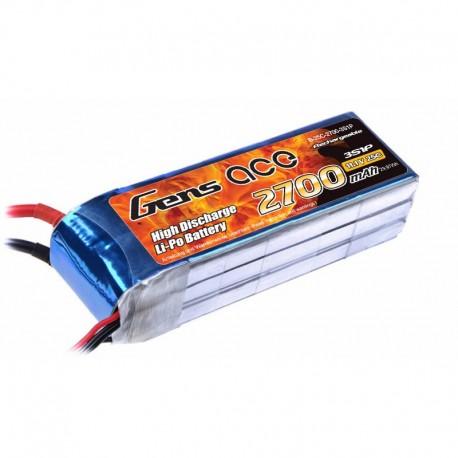 Gens ace 2700mAh 11.1V 25C 3S1P Lipo Battery Pack with XT60 Plug for DJI Phantom