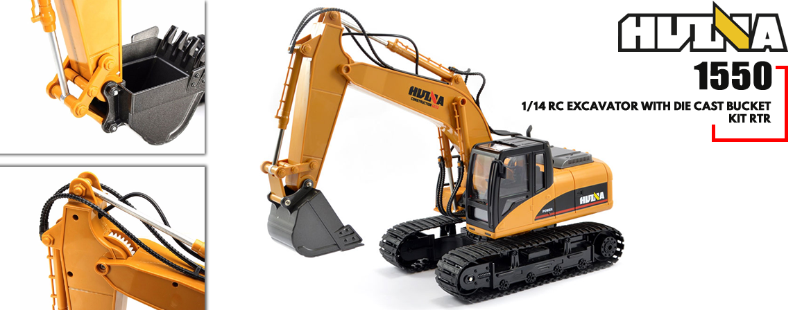 Huina 1550 1/14 RC Excavator with Die Cast Bucket Kit RTR